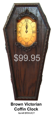 Brown Victorian Coffin Clock